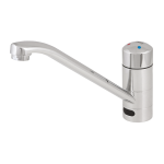 Washbasin and sink mixer with elongated spout, 24 V DC