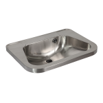 Stainless steel washbasin without tap hole