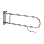 Stainless steel hand rail, folding, with toilet paper holder, length 830 mm, brushed