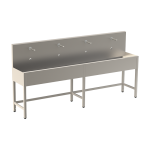 Stainless steel trough with 4 integrated electronics, thermostatic valve, length 2500 mm, 24 V DC