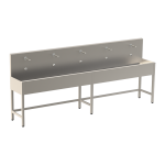 Stainless steel trough with 5 integrated electronics, thermostatic valve, length 3000 mm, 24 V DC