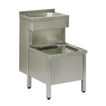 Composite stainless steel floor standing sink with a washbasin with SLU 10B