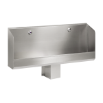 Stainless steel urinal trough with 2 integrated infra-red flushing units, 24 V DC