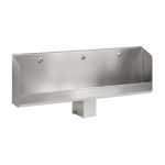 Stainless steel urinal trough with 3 integrated infra-red flushing units, 24 V DC