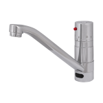 Washbasin and sink thermostatic mixer with elongated spout, 6 V