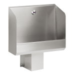 Stainless steel urinal trough with integrated infra-red flushing unit, 24 V DC