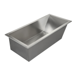 Stainless steel bath tub, 1700 x 800 mm
