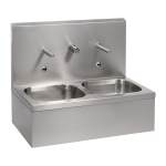 Stainless steel wall hung double sink with integrated electronics, thermostatic mixer, 6 V