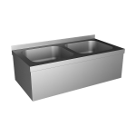 Stainless steel wall hung double sink with apron and with SLU 10B, 6 V