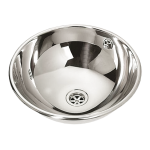 Stainless steel recessed washbasin, Ø 360 mm