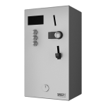 Coin and token shower timer for one to three showers, 24 V DC, choice of shower by the machine, interactive control