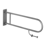 Stainless steel hand rail, solid, with toilet paper holder, length 900 mm, brushed