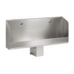 Stainless steel wall-mounted urinal trough WITHOUT electronics, 1200 mm