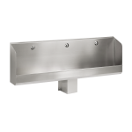 Stainless steel wall-mounted urinal trough WITHOUT electronics, 1800 mm