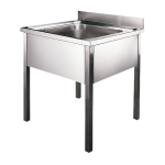Stainless steel floor standing bulk sink, 700x700x850 mm