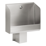 Stainless steel automatic urinal through with integrated thermic flushing unit, 600 mm, 24 V DC