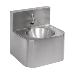 Vandal-proof stainless steel automatic wall-mounted washbasin, for cold or premixed water, 6 V