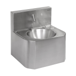 Vandal-proof stainless steel piezo wall-mounted washbasin, for cold or premixed water, 24 V DC