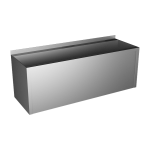 Stainless steel vandal-proof trough with apron, from AISI 304, 1250 mm