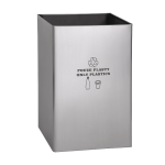 Stainless steel waste bin, legend PLASTIC ONLY