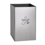 Stainless steel waste bin, legend PAPER ONLY
