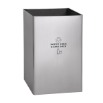 Stainless steel waste bin, legend GLASS ONLY