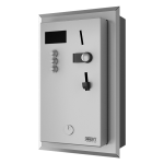 Recessed coin and token shower timer for one to three showers, 24 V DC, choice of shower by the user, interactive control