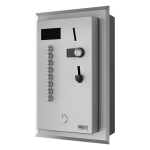 Recessed coin and token shower timer for four to eight showers, 24 V DC, choice of shower by the user, direct control