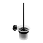 Stainless steel toilet brush with glass, black matt finish
