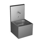Stainless steel wall hung sink with integrated electronics, thermostatic mixer, 6 V
