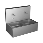 Stainless steel wall hung double sink with integrated electronics, thermostatic mixer, 24 V DC