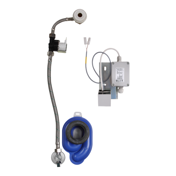 Radar flushing unit with integrated power supply on the mounting rail for urinal Roca Zoom / Inker, 230 V AC