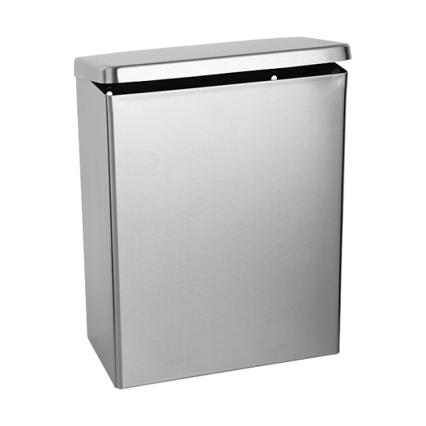 Stainless steel wall hung waste bin for sanitaries, volume 4,5 l, brushed