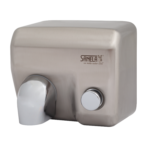 Mechanical wall mounted hand dryer with stainless steel brushed cover and push button