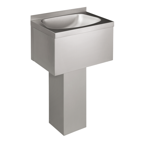 Stainless steel floor standing washbasin with sheating, fixed to the wall