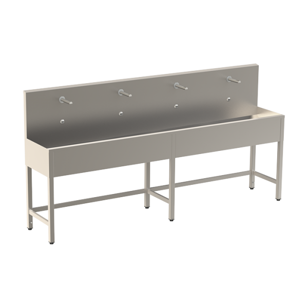 Stainless steel trough with 4 integrated electronics, length 2500 mm, 24 V DC