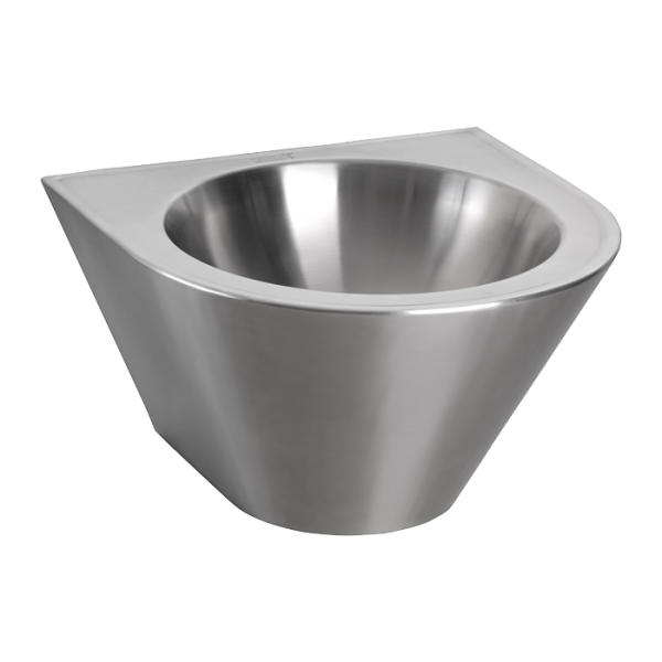 Vandal-proof stainless steel wall hung conical washbasin, Ø 360 mm