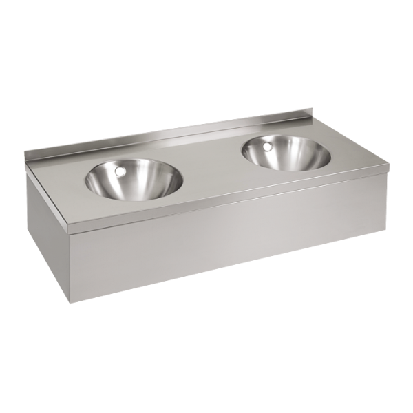 Stainless steel wall hung double washbasin with apron