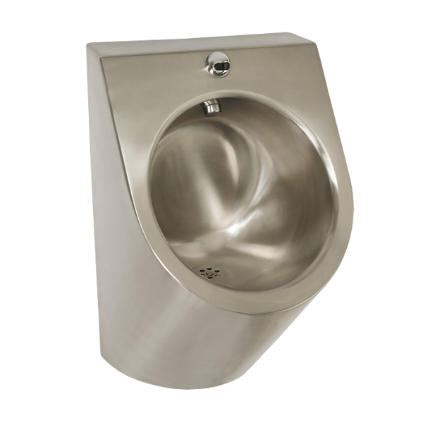 Stainless steel urinal with integrated infra-red flushing unit, 9 V