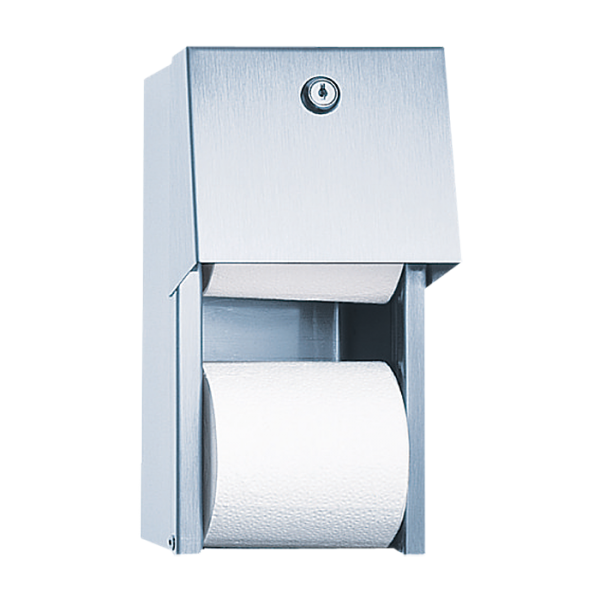 Stainless steel toilet paper holder, brushed