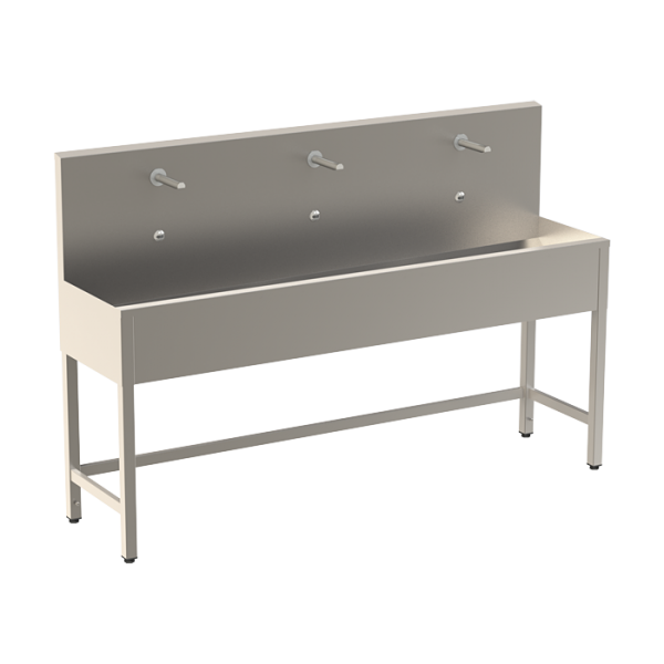 Stainless steel trough with 3 integrated electronics, thermostatic valve, length 1900 mm, 24 V DC