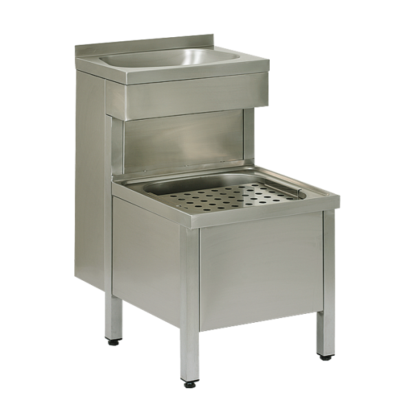 Composite stainless steel floor standing sink with a washbasin