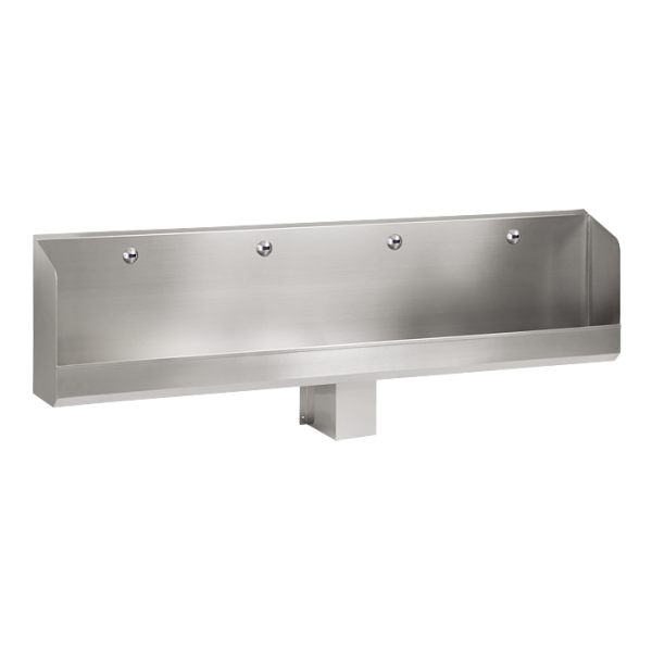 Stainless steel urinal trough with 4 integrated infra-red flushing units, 24 V DC