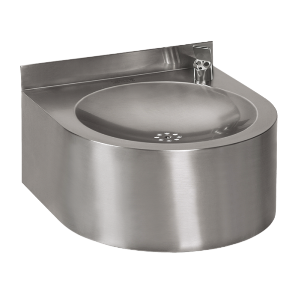 Stainless steel wall hung automatic drinking fountain, 6 V