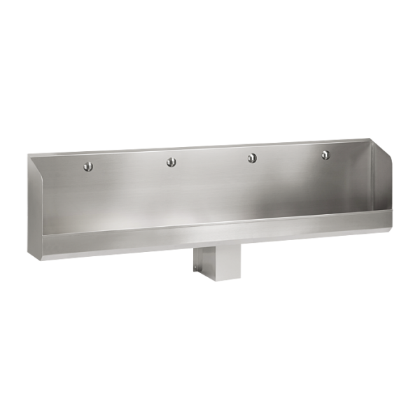 Stainless steel wall-mounted urinal trough WITHOUT electronics, 2400 mm
