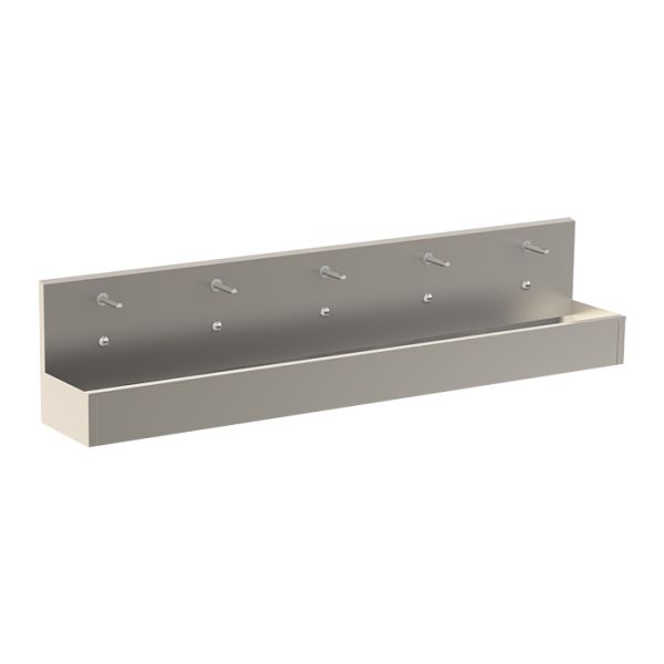 Stainless steel wall hung trough with 5 integrated electronics, length 3000 mm, 24 V DC