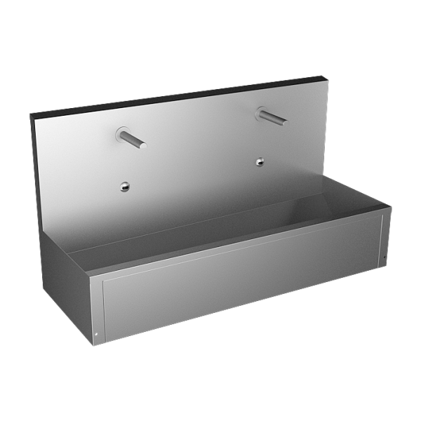 Stainless steel wall hung trough with integrated electronics, thermostatic valve, length 1250 mm, 24 V DC