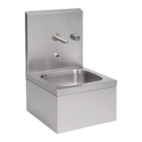 Stainless steel wall hung sink with integrated electronics, thermostatic mixer, 24 V DC