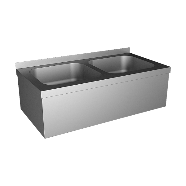Stainless steel wall hung double sink with apron and with SLU 10, 24 V DC