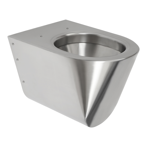 Vandal-proof stainless steel hanging toilet